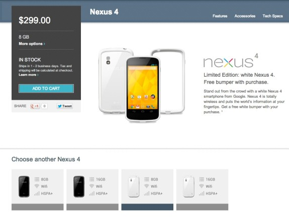 The white Nexus 4 has appeared in the U.S. today.