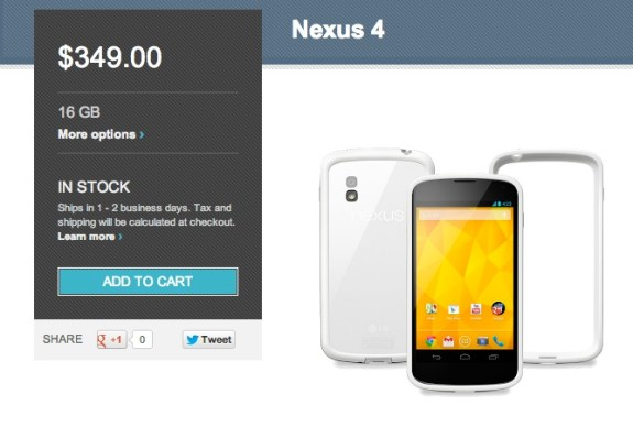 White Nexus 4 in Google Play