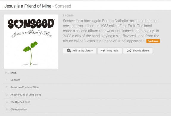 sonseed on google play music all access