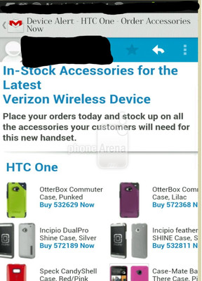 Phone Arena posts an email capture listing accessories for the HTC One for Verizon Wireless from a third-party wireless dealer.