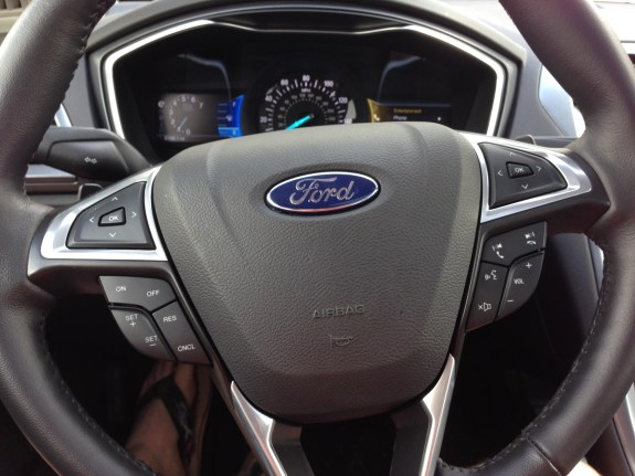 The 2013 Ford Fusion steering wheel offers fast access to controls.