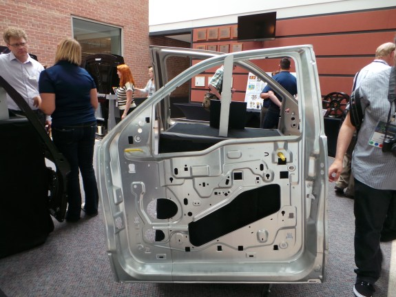 Car frame design: the one on the front is made from stainless steel, the rear is made from aluminum that's been extruded.