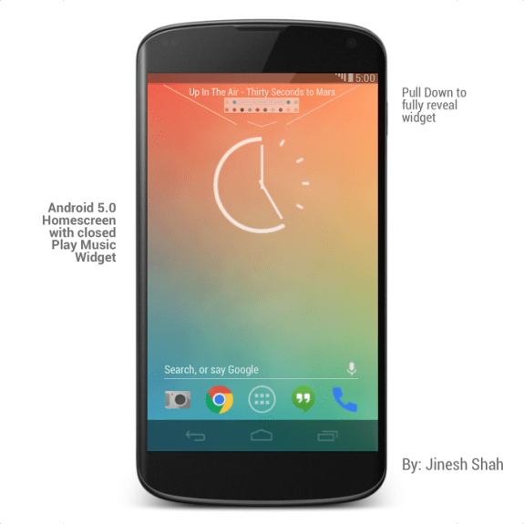 Android 5.0 Music Widget Closed