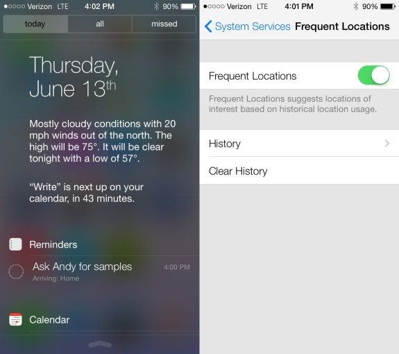 The new iOS 7 Notification Center includes a Today mode that offers fast access to your info.