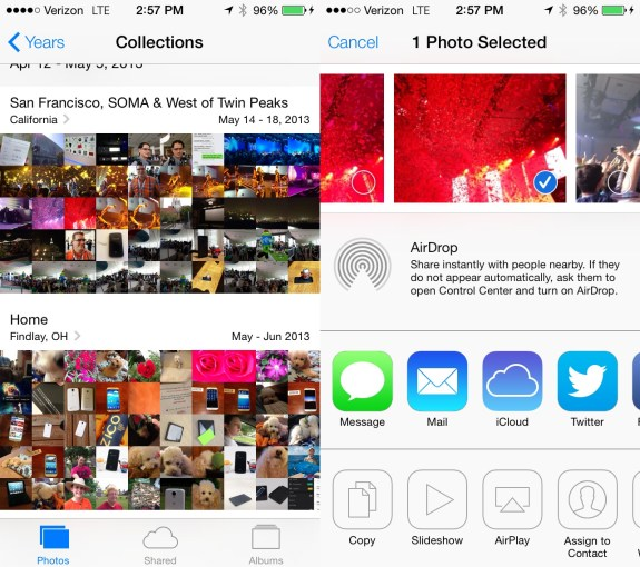 iOS 7 includes a new Photos App with easier sharing.