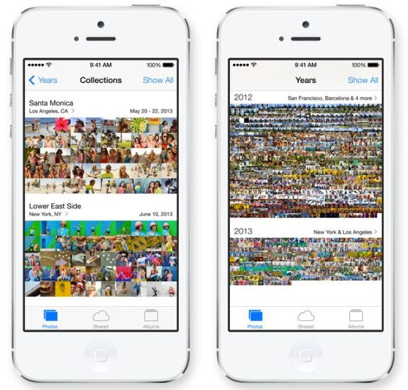 The new iOS 7 Photos app makes finding photos easier.