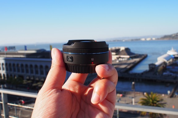 The 10mm lens is small, compact and light. It comes with its own function button on the lens itself, which can be programmed by the user for quick access to various functions.