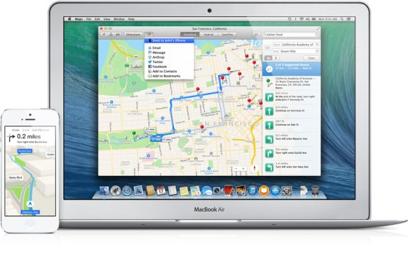 Apple Maps in Mavericks can send info to the iPhone or iPad.