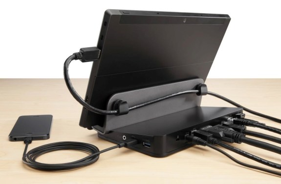 The Belkin Dual Video Docking Stand for Windows Tablets