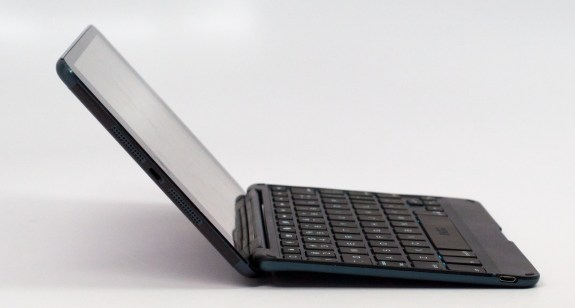 The ZAGGKeys Cover iPad mini Keyboard case allows for multiple angles.
