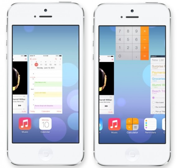 The new iOS 7 multitasking offers large previews and easy access to closing apps.