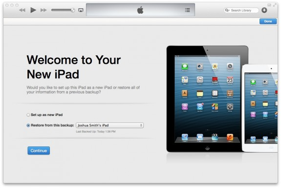 After installing iOS 7, restore or set up as a new iPad.