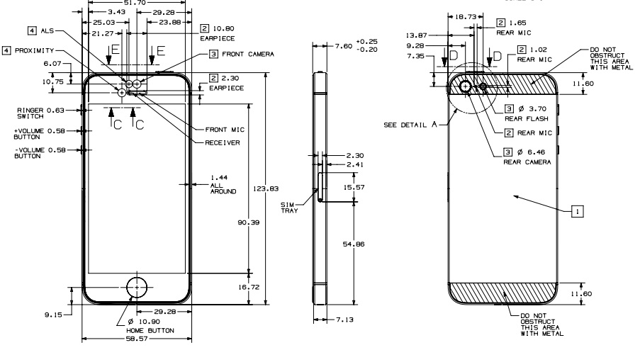 Iphone 5s blueprints show what case makers think apple is planning this is what an official iphone 5 blueprint looks like direct from apple offering details malvernweather Images