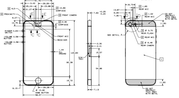 This is what an official iPhone 5 blueprint looks like direct from Apple, offering details to case makers.