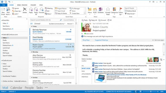 Outlook 2013, courtesy of Microsoft.