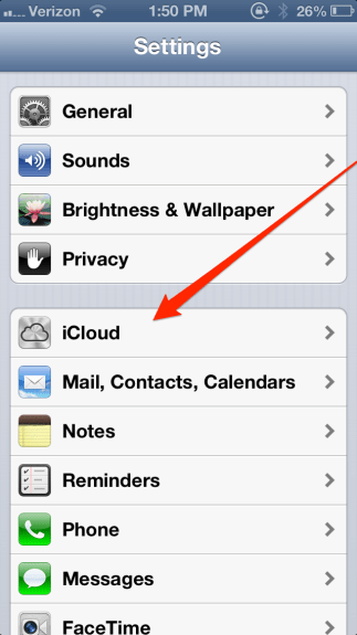 iPhone iCloud Button