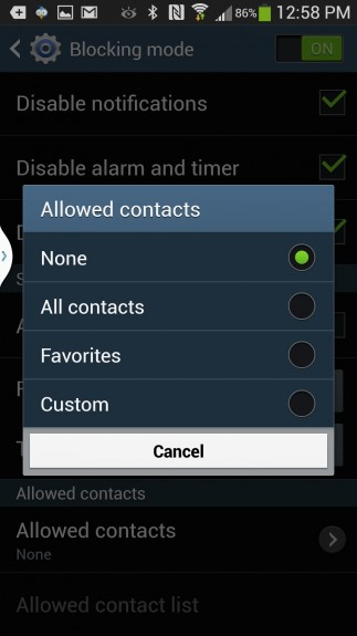 blocking mode contacts