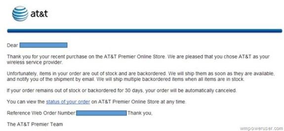 A screenshot of the order status update sent to WMPowerUser