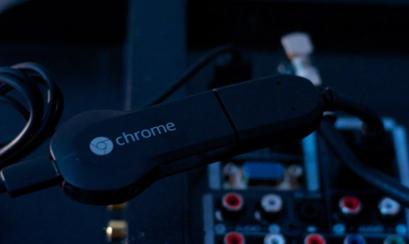 The ChromeCast tucks behind an HDTV.