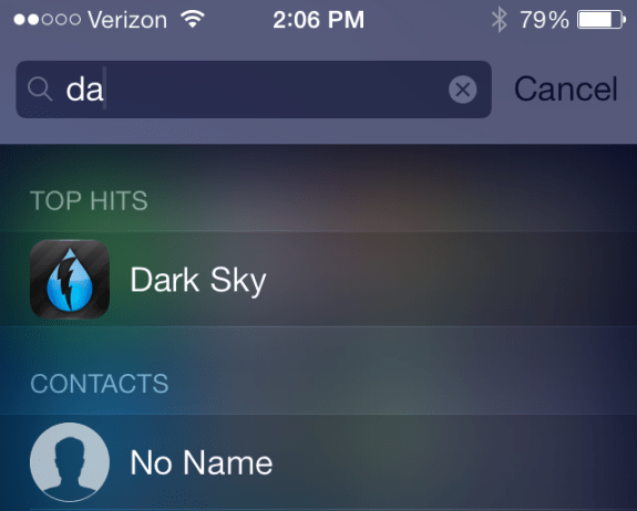 Revamped spotlight search on iOS 7 beta 4.