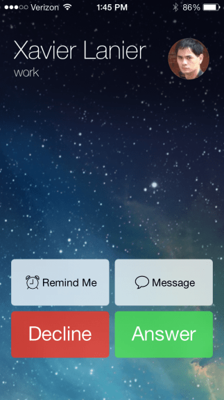 New call screen in the iOS 7 beta 4.