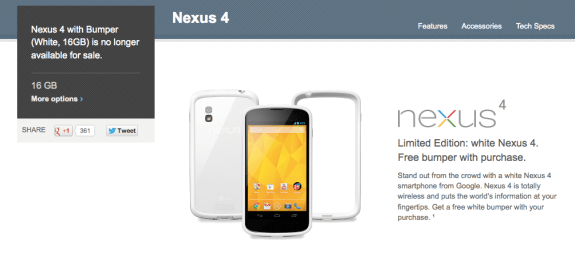 The white Nexus 4 is no longer for sale on Google Play.