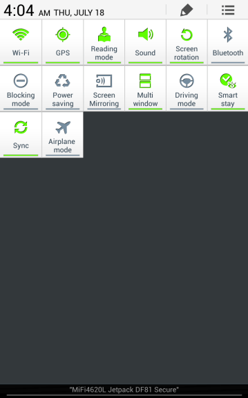 TouchWiz toggles are reduced from what was available on the Galaxy S4