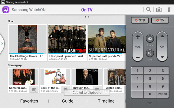 Samsung's Watch On app, also used to control your TV