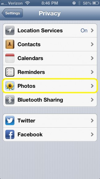 Tap Photos under Privacy