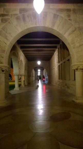 Main quad at Stanford University at night; no flash