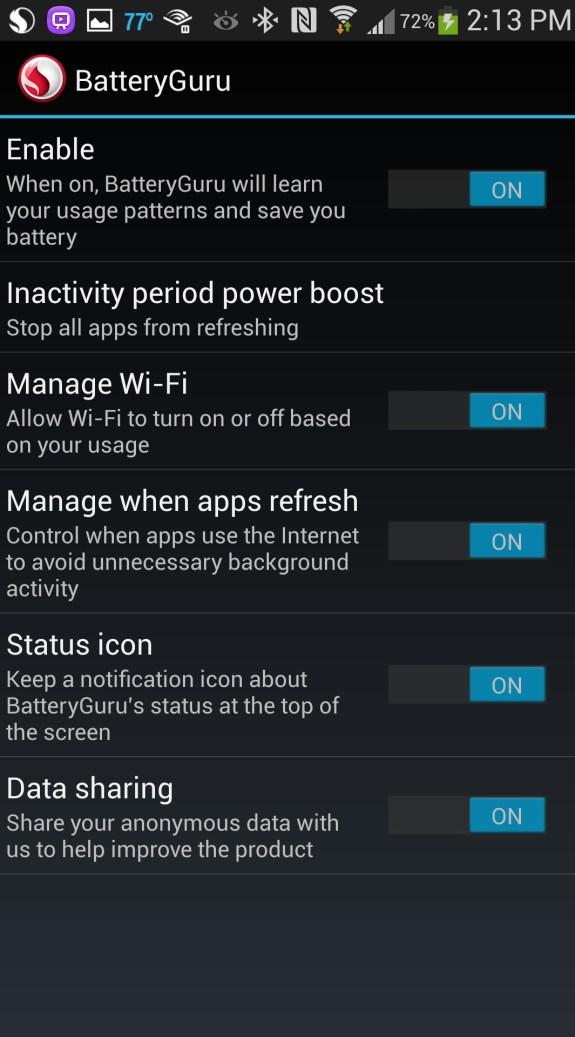 battery guru settings