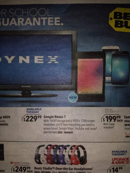 A Best Buy flyer points to an more expensive Nexus 7 price tag.