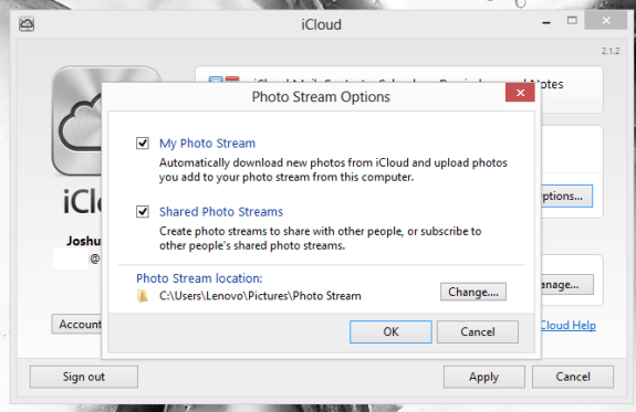 Select Photo Stream upload and download locations and decide if you want to download shared Photo Streams.
