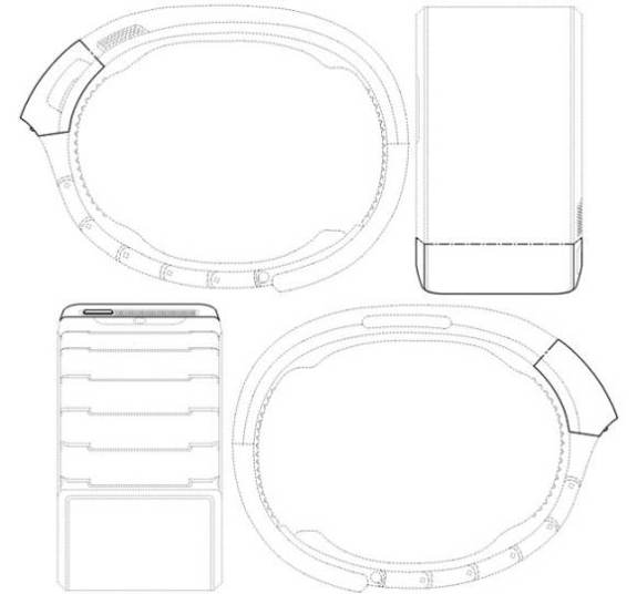 The Samsung Galaxy Gear as pictured in a filing with the USPTO