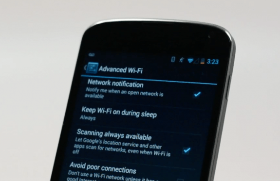 WiFi can help with location information even when it is off on Android 4.3.