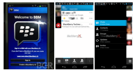 Pictures of BlackBerry Messaging for Android sent to CrackBerry and AndroidCentral