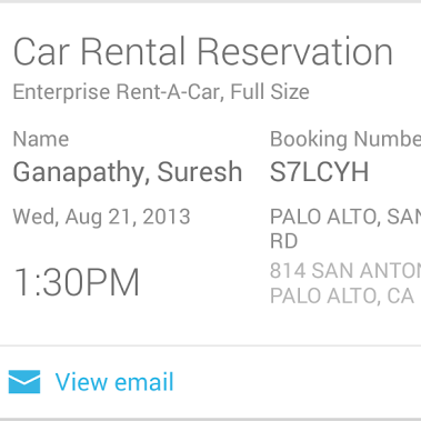 The new Car Rentals card in Google Now.