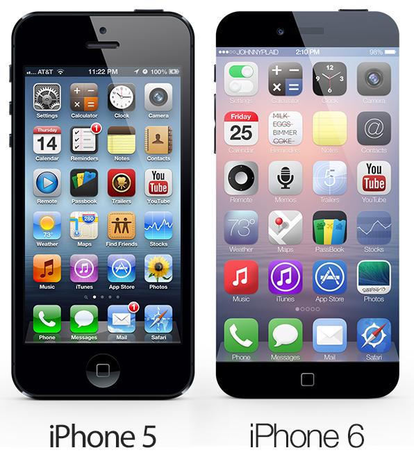Concept iPhone 6 vs. iPhone 5 size comparison.
