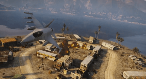 Blow stuff up with a fighter jet in GTA 5's Grand Theft Auto Online mode.
