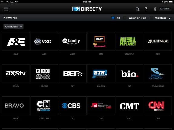 directv new ipad app networks page