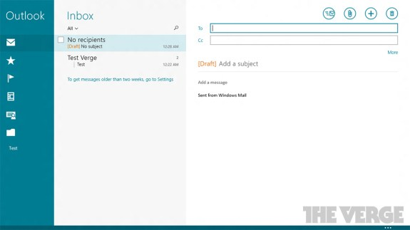 The Windows 8.1 Mail application with the updated, App Bar design at the bottom. captured by The Verge.