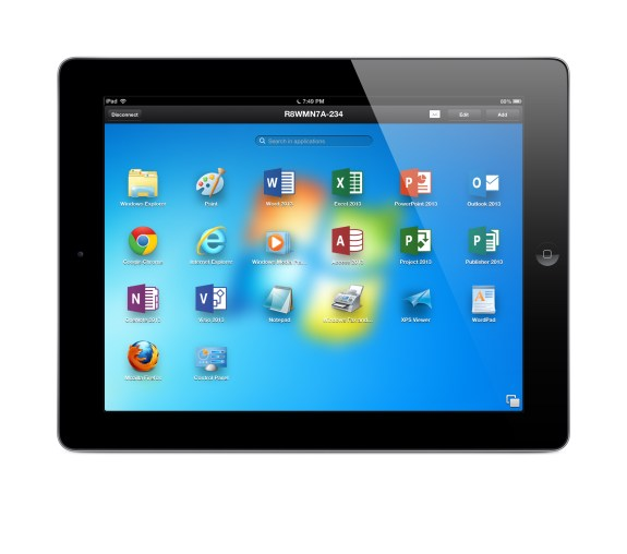 Parallels Access Launch Pad on iPad accessing Windows 7 PC