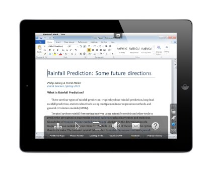 Parallels Access on an iPad accessing Windows Word 2013 on a PC with Parallels Access Settings