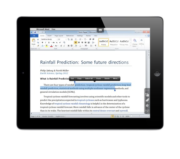 Parallels Access on iPad accessing Windows Word 2010 on a PC - selecting text