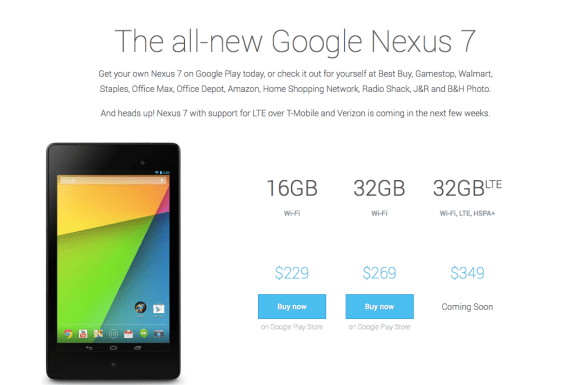 The Nexus 7 LTE will be sold on the Google Play Store.