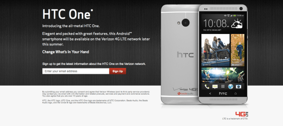 The HTC One has shown up on Verizon's website.