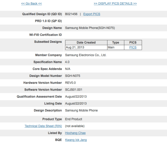 The Galaxy Note 3 for Japanese carrier NTT DoCoMo has passed through a Bluetooth certification it seems.