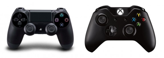 PS4 controller vs. Xbox One controller.
