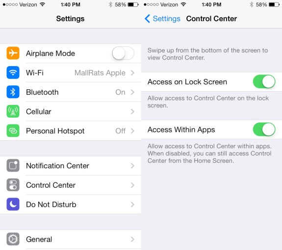 New settings options and looks in iOS 7 beta 5.
