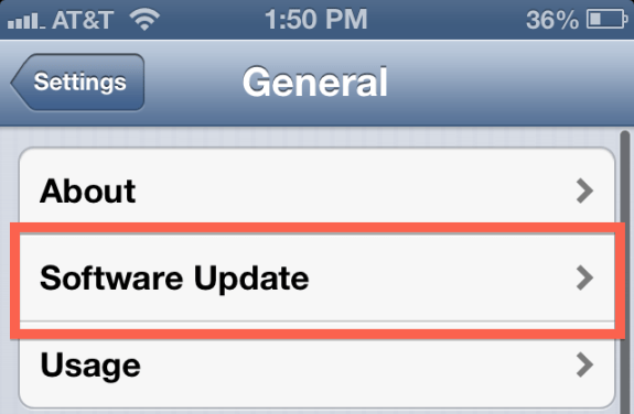 Step 3 of installing the iOS 7 update.